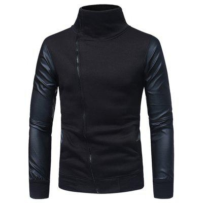 W37 Leather Sleeve Stitching Men's Casual Slim Stand Collar Zip Cardigan Sweatshirt