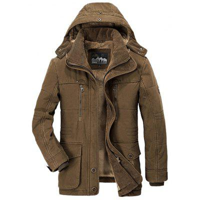 Men Winter Business Casual Multi-pocket Hooded Coat