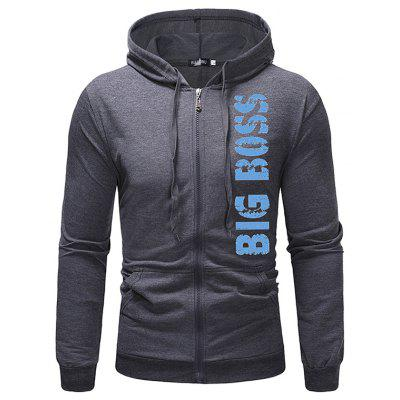 W07 - Blue BIG BOSS Spring and Autumn Men Casual Solid Color Hooded English Letter Print Sweater
