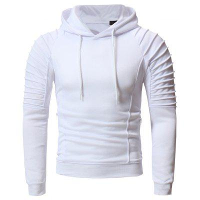 W38 Personalized Pleated Design Men's Casual Slim Hoodie