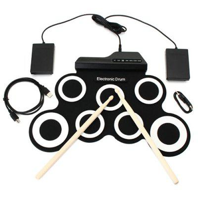 Hand Roll USB Electronic Drum Portable Folded Silicone Practice Music Instrument