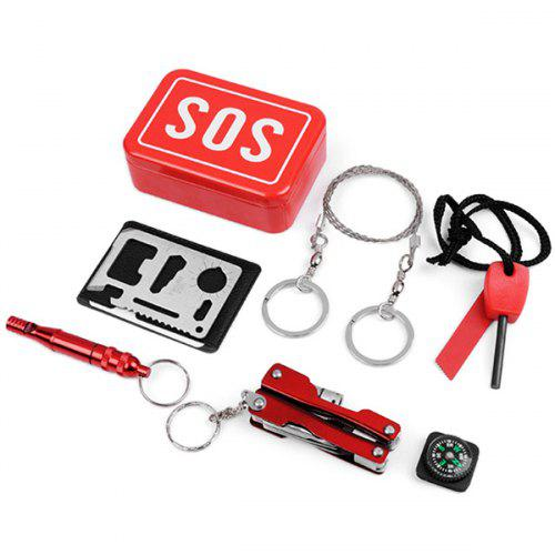 8 In 1 SOS Portable Mini Emergency First Aid Kit Survival Equipment Rescue Tool