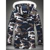 Thick Warm Camouflage Hooded Cotton Coat for Men - SLATE BLUE