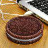 USB Powered Biscuit Shape Coaster - BROWN