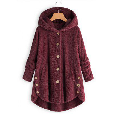 Women Double-sided Plush Button Thermal Coat