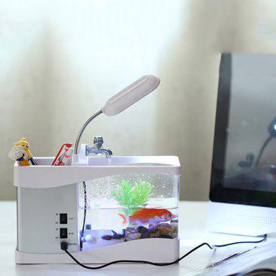 Pen Holder Time Alarm Clock Temperature Calendar Music LED Table Lamp Mini Usb Fish Tank