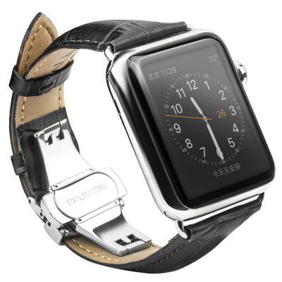 QIALINO Leather Business Strap Stainless Steel Connector for 42mm Apple Watch 1 / 2 / 3 / 4