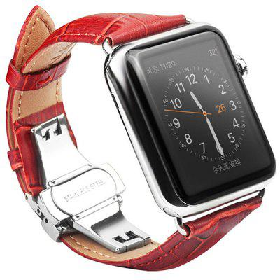 QIALINO Leather Business Stainless Steel Strap 38mm for iOS Watch 1 / 2 / 3 / 4