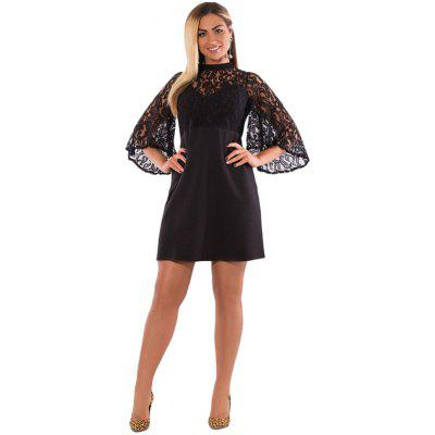 Women Plus Size Lace Mini Dress Stitching Flared Sleeve