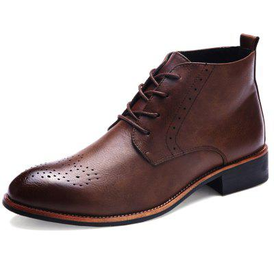 Carved Pointed Men Leather Shoes Male Boots
