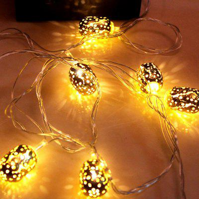 LED String Lights Wrought Iron Hollow Small Lantern Shape Outdoor Garden Decoration