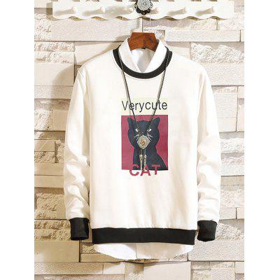 Spring Round Neck Cute Cat Pattern Print Hoodies