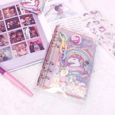 Pink Unicorn Blank Square Travel Loose-leaf Diary Notebook