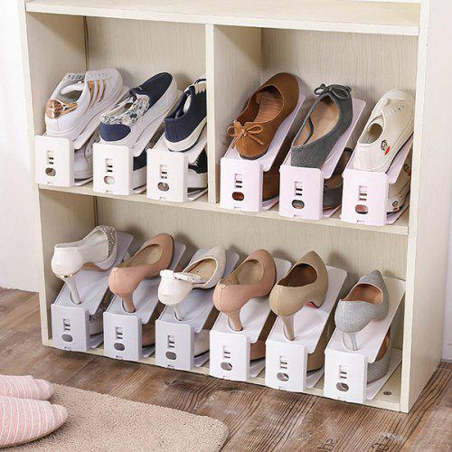 1//10PCS Cabinet Double Layer Storage Shoe Rack Foot Shaped Organizer Display