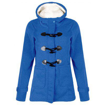 Women Classic Horn Button Pocket Cotton-padded Coat with Cap