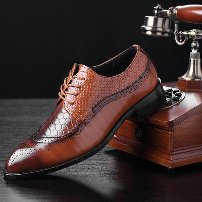 Men's Leather Shoes Bullock Carved Pointed Personality
