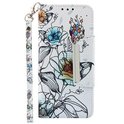 Painted TPU + PU Leather Mobile Phone Case Wallet Card Inserted Card Anti-fall Protection Cover for iPhone 6S