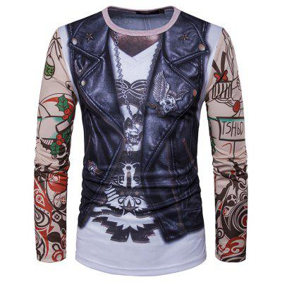 Leather Vest Tattoo Arm Print Long Sleeve Round Neck T-shirt