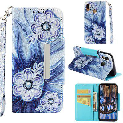 Painted TPU + PU Leather Mobile Phone Case Wallet Card Inserted Card Anti-fall Protection Cover for Huawei P20 Lite