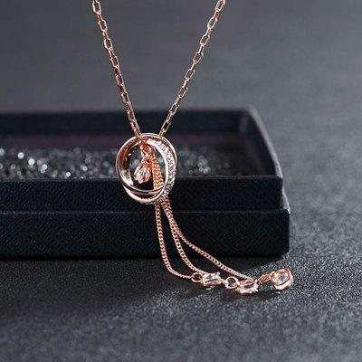 MY - 0023 Wholehearted Zircon Sweater Chain Long Necklace