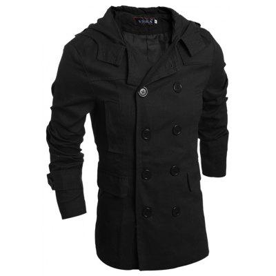 Men Stylish Double-breasted Solid Classic Trench Coat