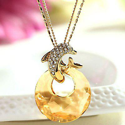 MY - 0052 Dolphin Crystal Sweater Chain Long Necklace