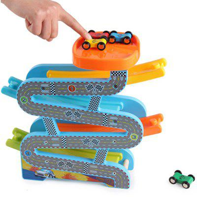 RB45 Young Children Wooden Colorful Glider Speed Racing Elevated Highway Slide Rail Car Toy Set