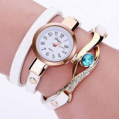 DUOYA D041 Women Wrap Around Leather Quartz Wrist Watch with Diamonds