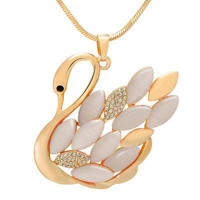 MY - 0041 Swan Opal Sweater Chain Long Necklace