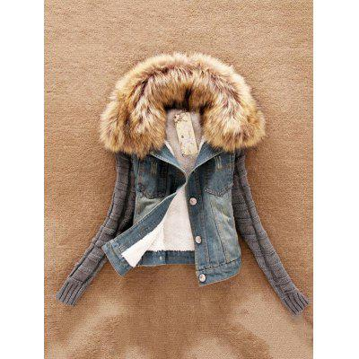 Collar Wool Sleeves Denim Jacket