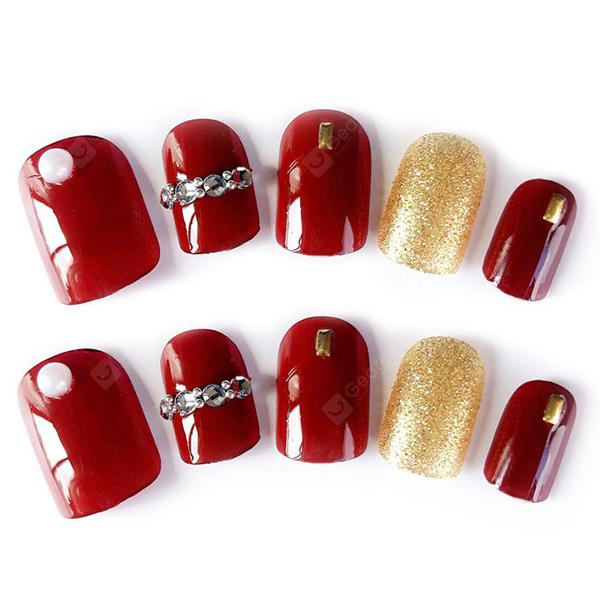 Artificial Patch Crimson Nail Sticker 24pcs