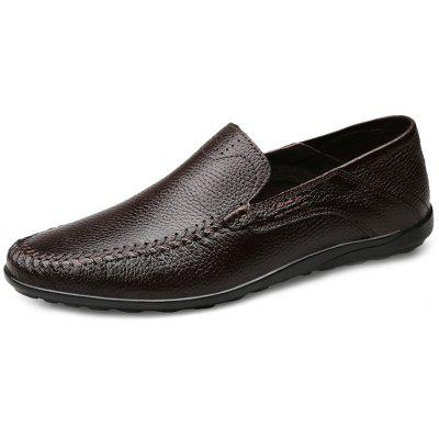 Men Youth Lazy No Shoelace Non-slip Leather Shoes