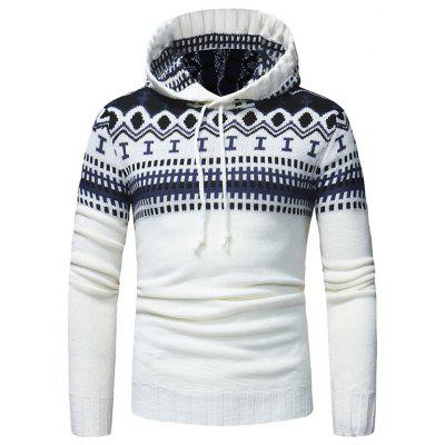 Men's Sweater Classic Hooded Casual Knit Geometric Pattern