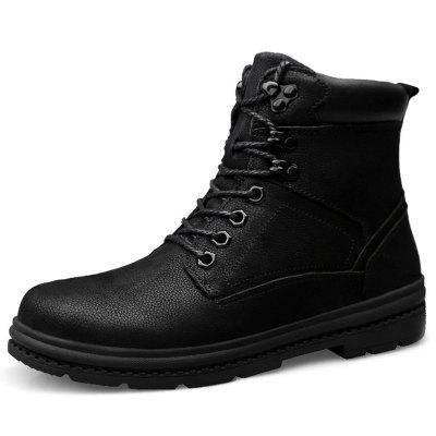 0909 - B Winter Warm Leather Boots High Shoes for Men