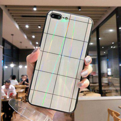Custodia per Cellulare in Vetro Temperato Plaid Bianco Nero Creativo per iPhone 8 Plus