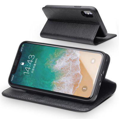 QIALINO Protective Cover Leather Flip Apple Mobile Phone Case Business Holster Back Cover Holster for iPhone X