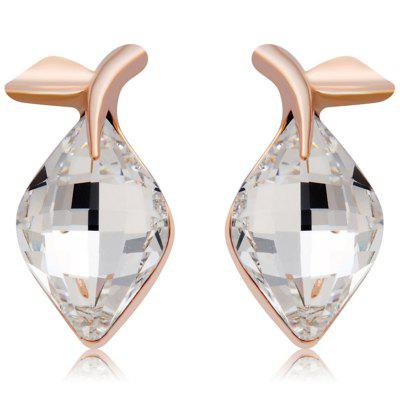 Rose Gold Olive Leaf Transparent Kristall Ohrstecker 2tlg