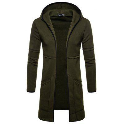 Solid Color Men's Long Cardigan