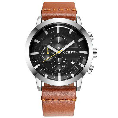 OCHSTIN 6078 Casual Leather Belt Multi-function Fashion Sports Waterproof Quartz Men's Watch