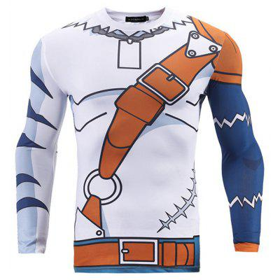 Creative Tight-fitting Long Sleeves Man T-shirt