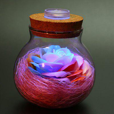 Colorful Rose Soap Flower Wishing Bottle Light for Decoration