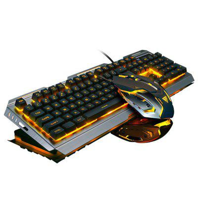 Wired Membrane Game Keyboard Optical Mouse Set with Backlight