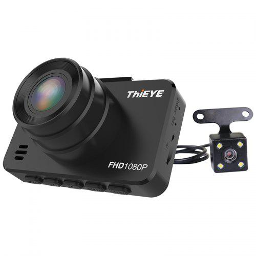 ThiEYE Safeel 3R 1080P + VGA Dual Camera Dash Cam - BLACK WITH BUILT-IN BATTERY
