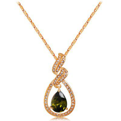 Gold-plated Cutout with Zircon-embedded Green Crystal Pendant Necklace
