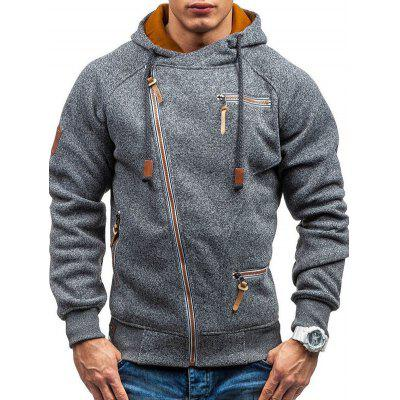 Men Side Zipper Hooded Hoodie