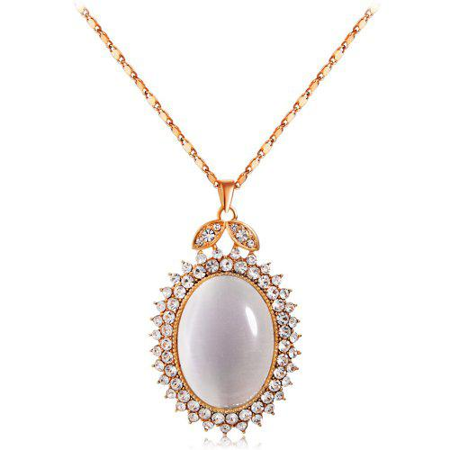 UK/_ FM Women/'s 3D Opal Crystal Flower Round Pendant Sweater Chain Necklace Jewe