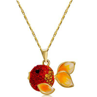Gold Plated Zircon Red Goldfish Pendant Necklace
