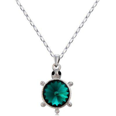 Silver Plated Turtle Ink Green Crystal Pendant Necklace