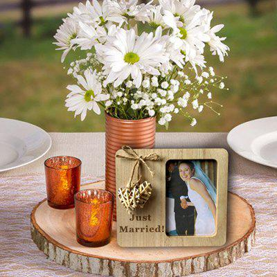 JM01052 Wooden Country Vintage Wedding with Weaving Love Photo Frame