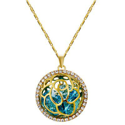 Gold-plated Cutout Zircon Ball Blue Crystal Pendant Necklace